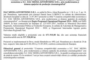 Anunt SC DAC MEDIA ADVERTISING SRL